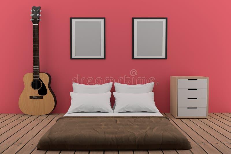 Sypialnia w różowym pokoju z gitarą akustyczną w 3D renderingu royalty ilustracja