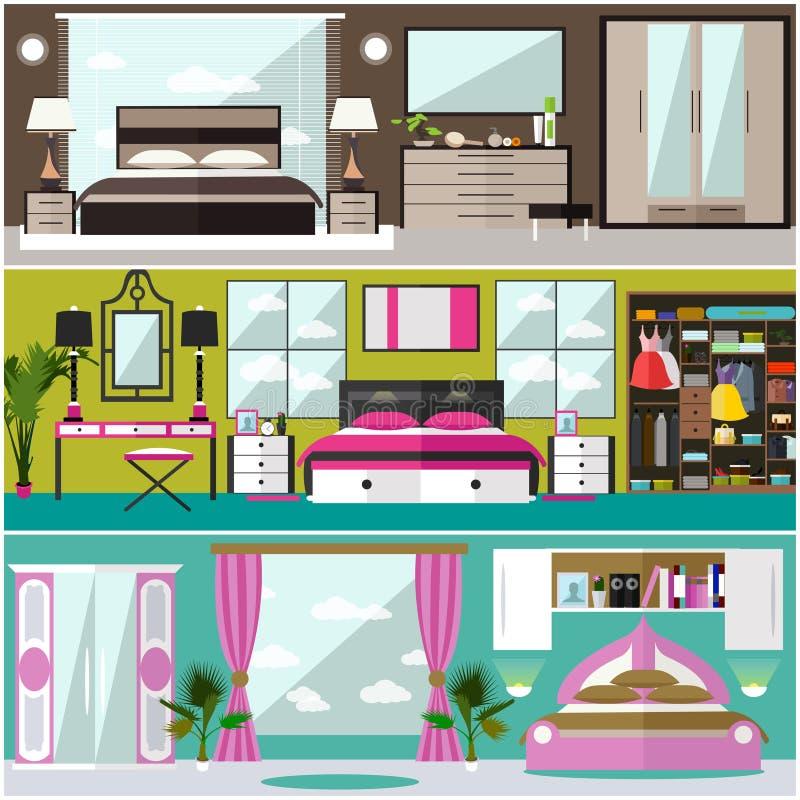 Sypialnia wewnętrzni sztandary ustawiający w mieszkanie stylu również zwrócić corel ilustracji wektora royalty ilustracja