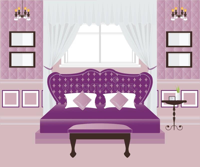 Sypialnia Wewnętrzny projekt ilustracji