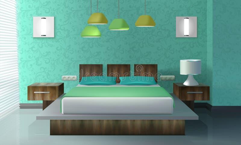 Sypialnia Wewnętrzny projekt ilustracja wektor