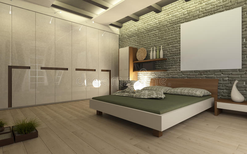Sypialnia z ściana z cegieł royalty ilustracja