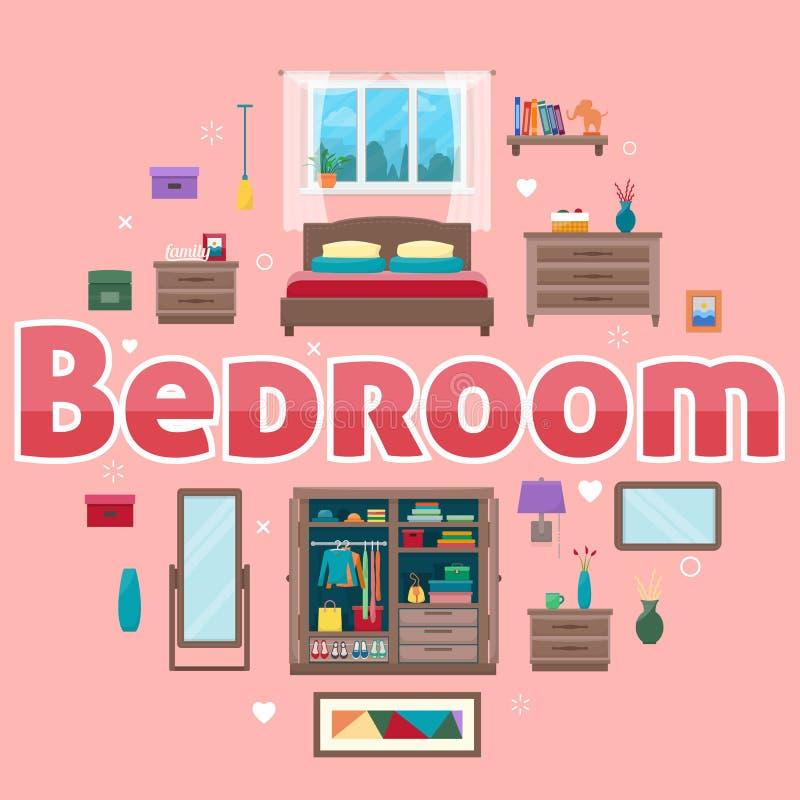 Sypialnia z meble royalty ilustracja