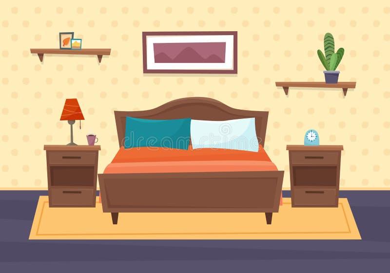 Sypialnia z meble Mieszkanie styl ilustracja wektor