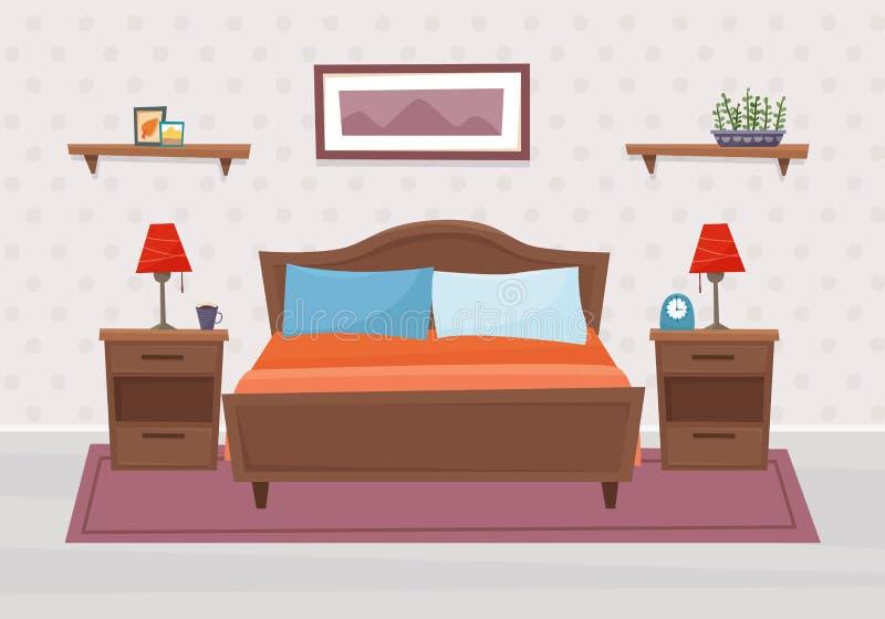Sypialnia z meble Mieszkanie styl ilustracji