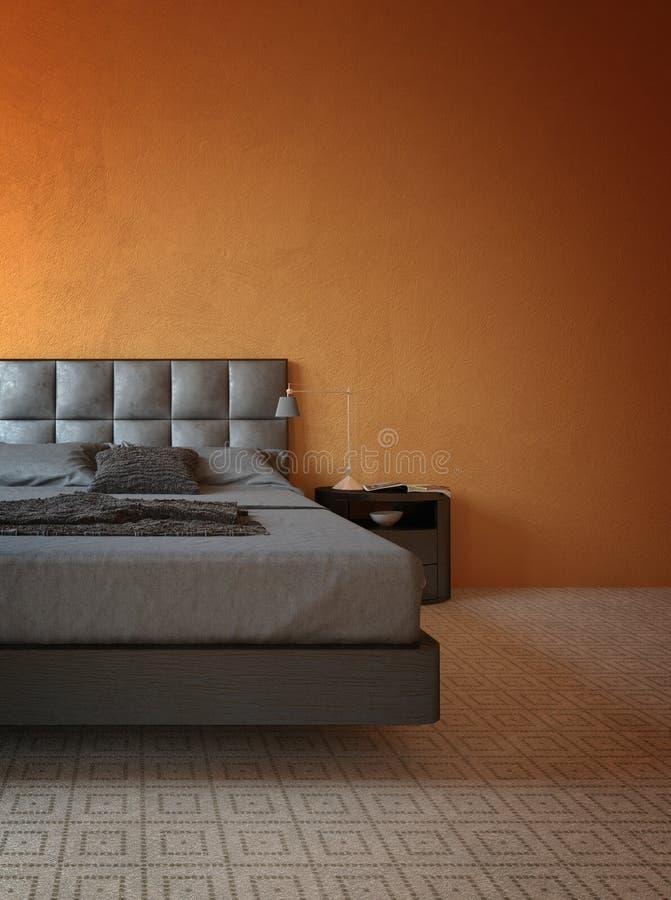 Sypialnia z Nowożytnymi meblowaniami i pomarańcze ścianą ilustracji