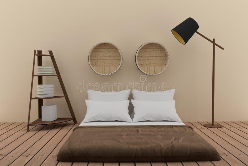 Sypialnia z półka na książki w miękkim izbowym brzmienie projekcie w 3D renderingu royalty ilustracja