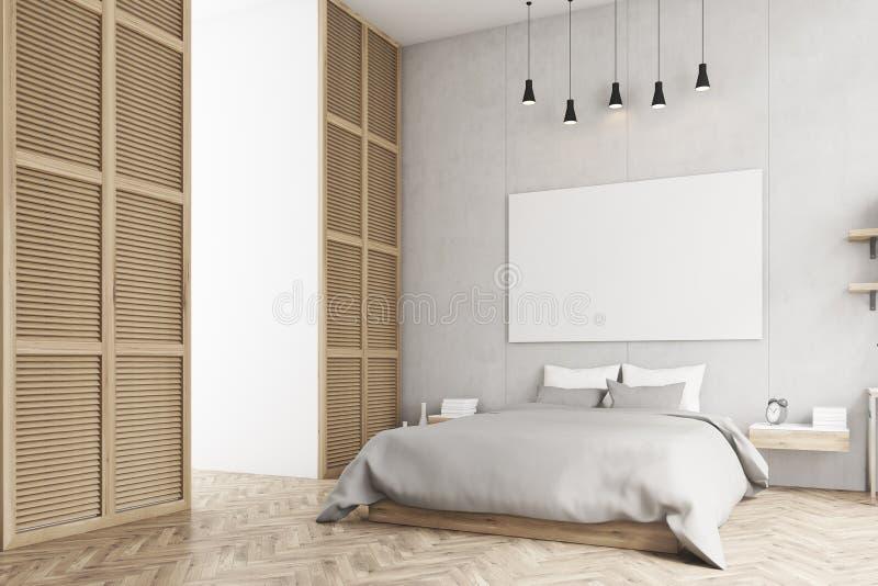 Sypialnia z plakatem i okno w beżowej ścianie royalty ilustracja