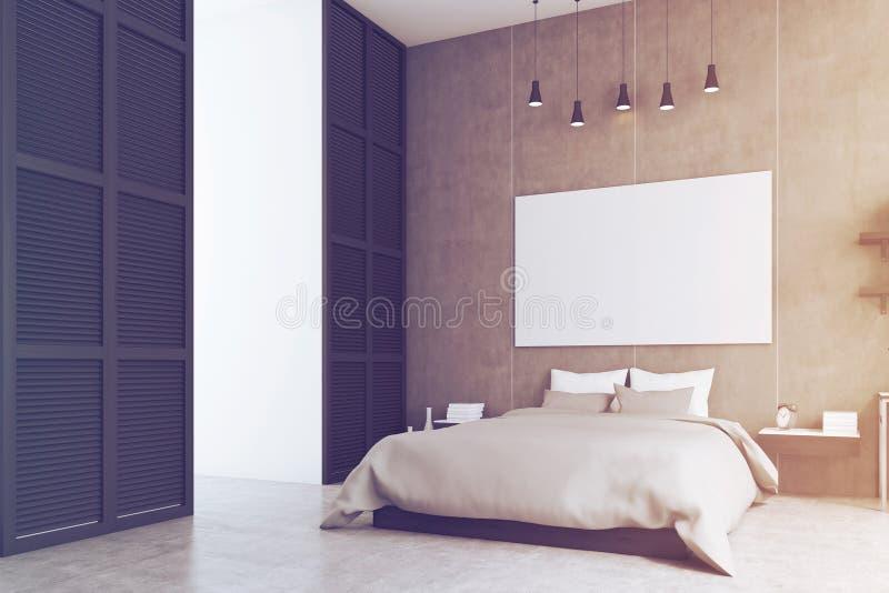 Sypialnia z plakatem i okno w czarnej ścianie, stonowanej royalty ilustracja