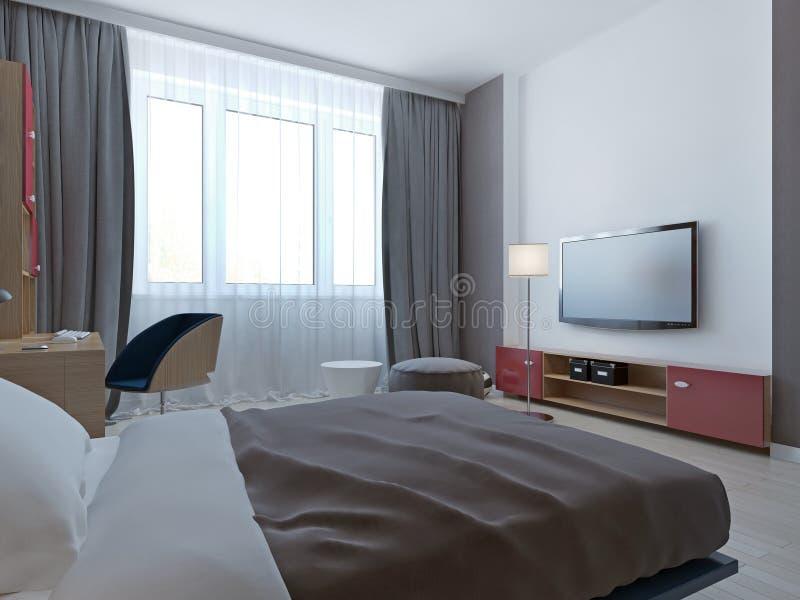 Sypialnia z popielatymi ścianami i niszą royalty ilustracja