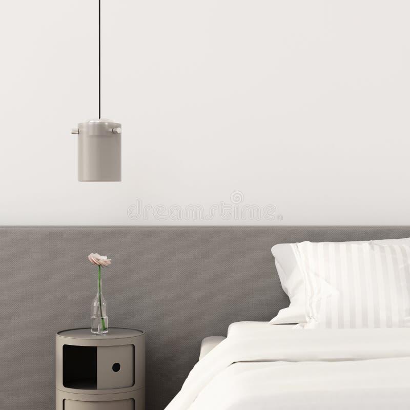Sypialnia z szarym wezgłowie stołem, świecznikiem i ilustracji