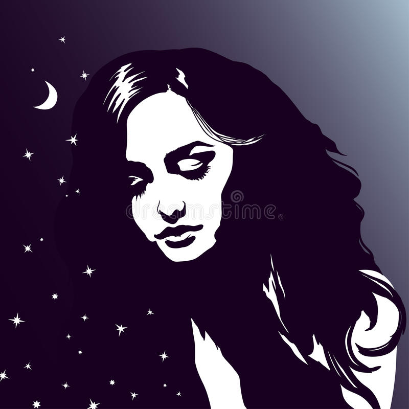 Sypialny dziewczyna portret, piękna marzy kobieta, nocne niebo, gra główna rolę ilustracji
