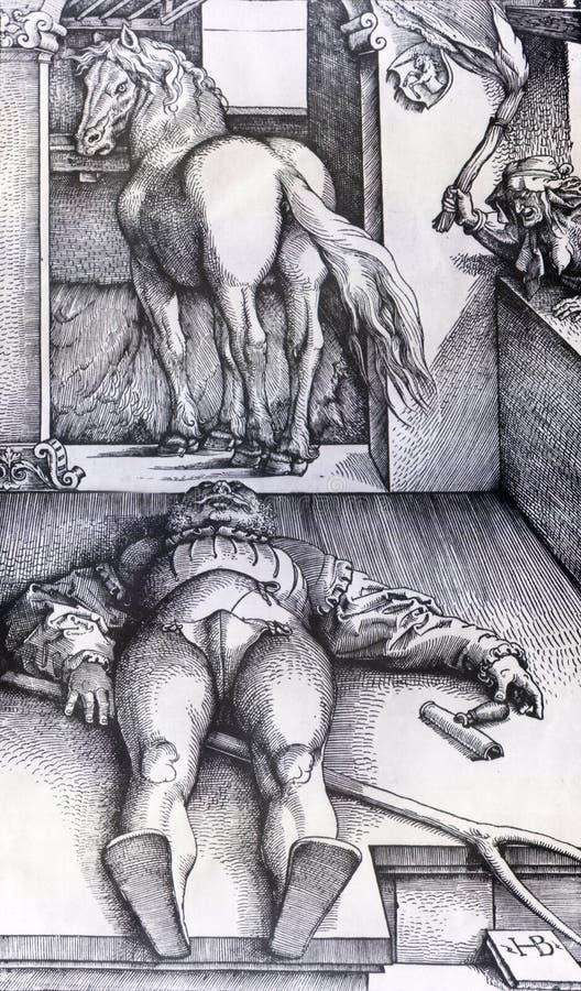 Sypialny fornal i guślarka royalty ilustracja