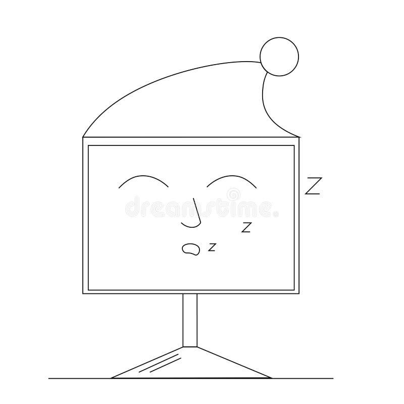 Sypialny komputer w nakrętce ilustracji