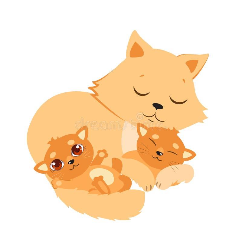 Sypialny kot I figlarka Słodka kiciuni kreskówki wektoru karta royalty ilustracja