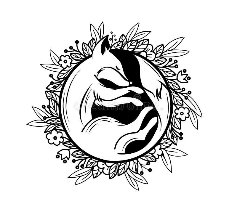 Sypialny lis ilustracji