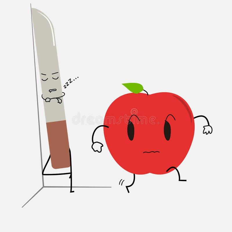 Sypialny nóż i okaleczająca jabłczana kreskówka zdjęcia stock