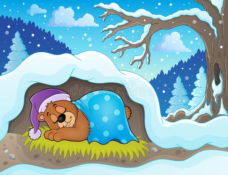Sypialny niedźwiadkowy tematu wizerunek 2 royalty ilustracja