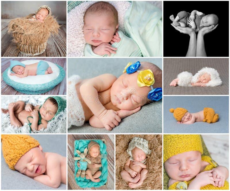 Sypialny nowonarodzony dziecko kolaż zdjęcia royalty free