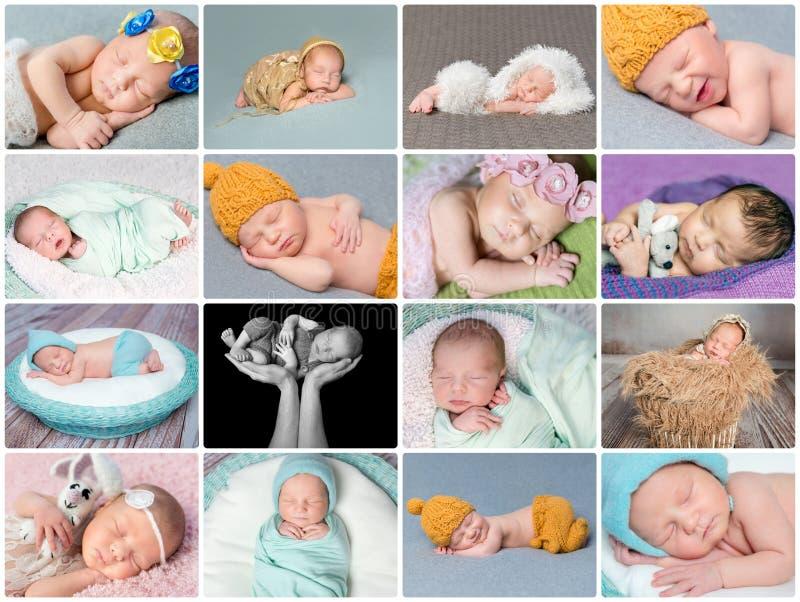 Sypialny nowonarodzony dziecko kolaż obraz stock