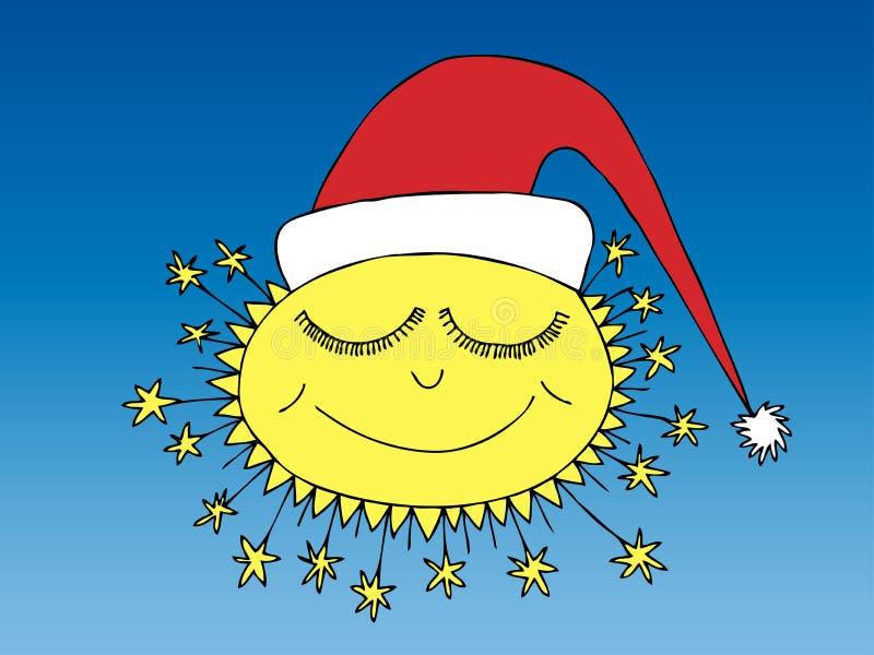 Sypialny zimy słońce w Santa nakrętce ilustracji