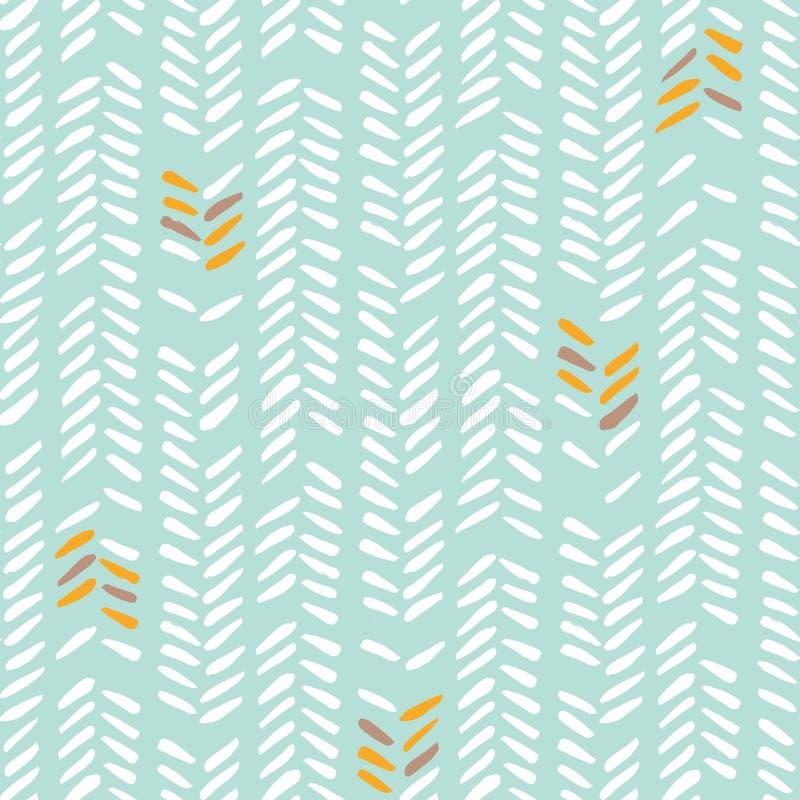 Syr den vita handen drog rregular stam- fiskbensmönstret på sömlös modell för mintkaramellbakgrundsvektor Geometrisk teckning stock illustrationer