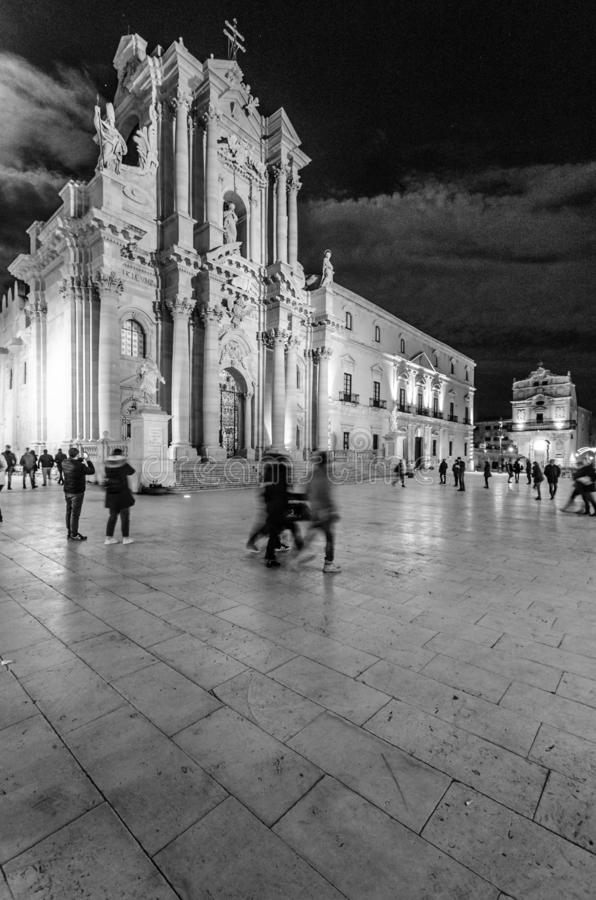 Syracuse Cathedral at night. The Duomo of Syracuse at night in black and white during the Christmas holidays stock photos