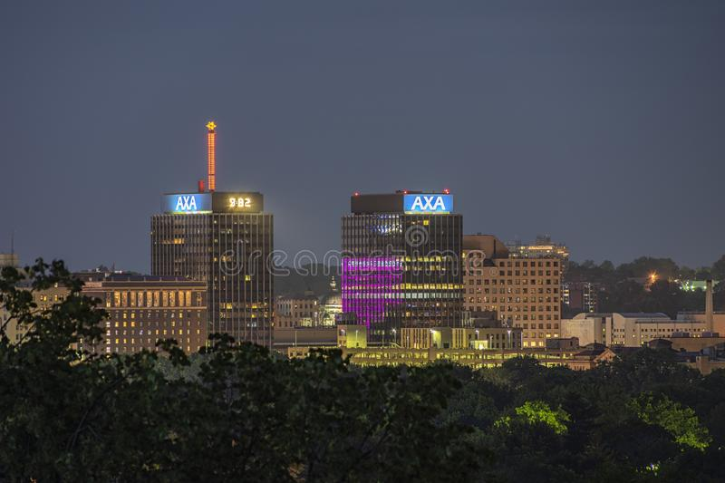 SYRACUSE, NEW YORK - JULY 13, 2019: Night View of The AXA Towers, Previously Known as the Mony Towers at Downtown Syracuse. Skyline, arial, aerial, upstate royalty free stock photos