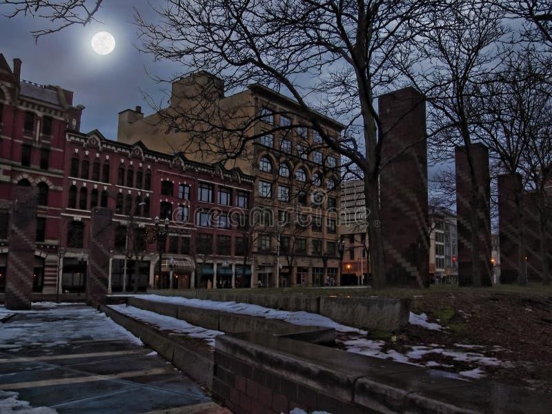 Syracuse at night. Syracuse, New York, USA. December 25,2016.View of downtown Syracuse, New York at night stock images