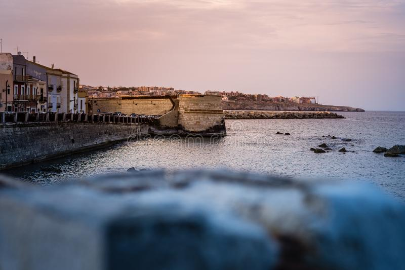 Syracuse - Sicily, Italia, Isola di Ortigia Coast of Ortigia island at city of Syracuse,. Sicily, Italy. Beautiful travel photo of Sicily stock images