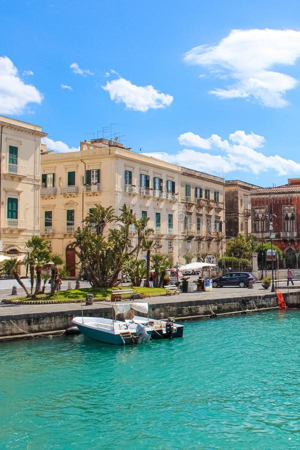 Syracuse, Sicily, Italy - Apr 10th 2019: Amazing harbour between the historical city Syracuse and famous Ortigia Island royalty free stock image