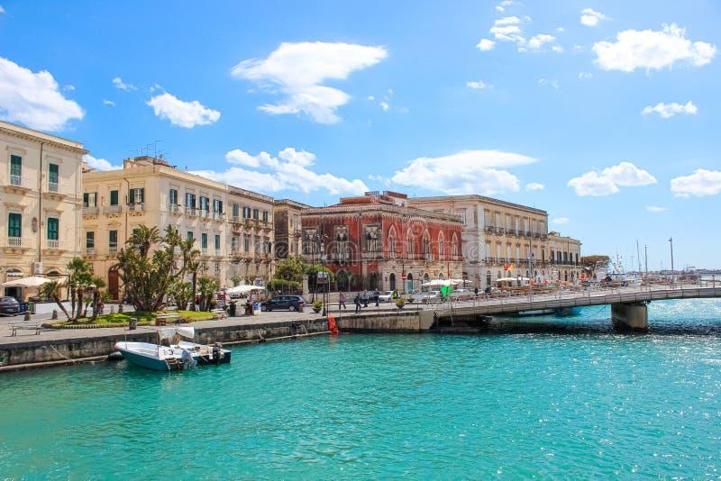 Syracuse, Sicily, Italy - Apr 10th 2019: Beautiful Sicilian harbor and bridge connecting the city of Syracuse with famous Ortigia stock photo
