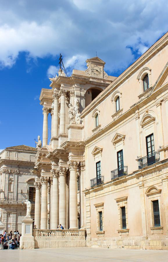 Syracuse, Sicily, Italy - Apr 10th 2019: View of beautiful Syracuse Cathedral from Piazza Duomo Square in Ortygia Island. Piece of Baroque architecture. Taken royalty free stock photo