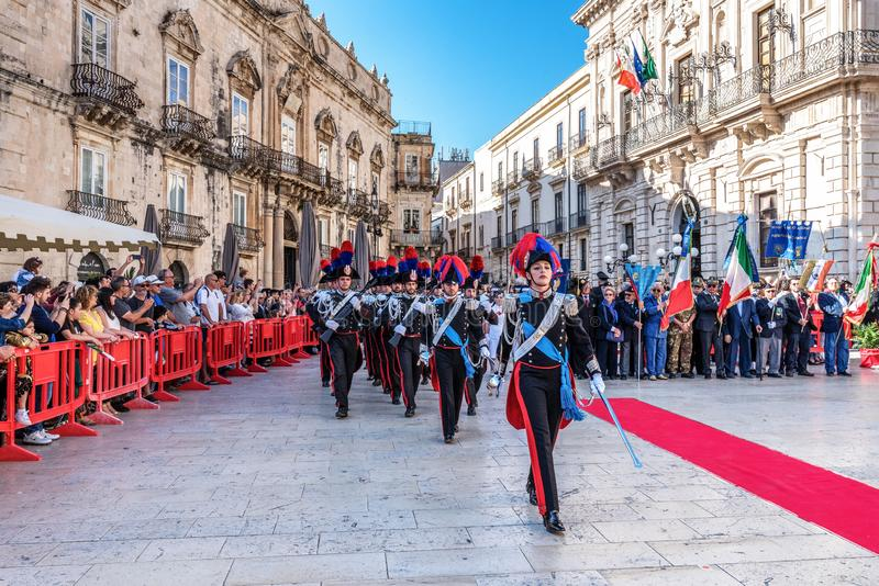 Syracuse Sicily/ Italy -June 05 2019: Parade of the carabinieri who wear the uniform and the historical hats with plume. Parade of the carabinieri who wear the royalty free stock photos