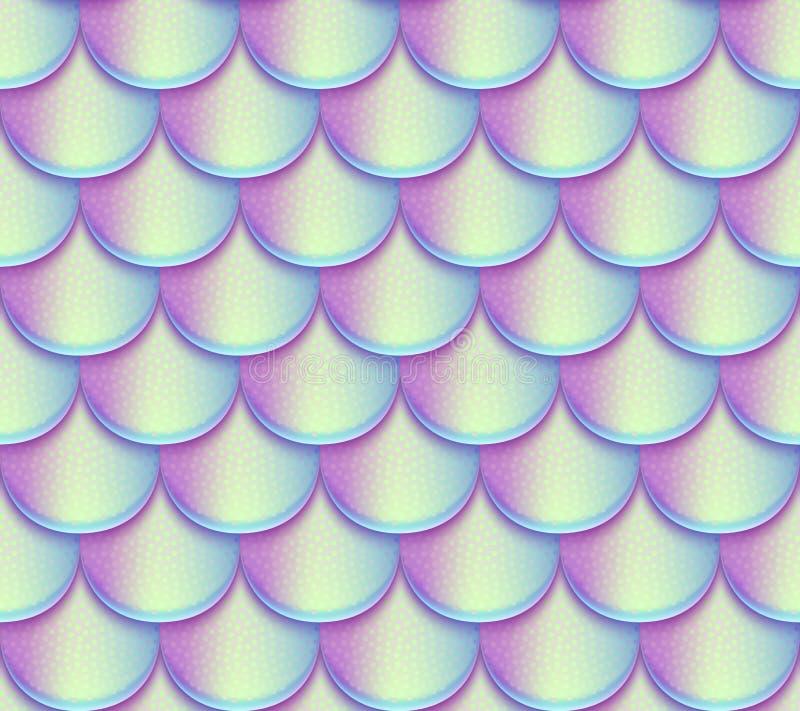 Syrenka ogon waży wektorowego bezszwowego wzór Holograficzna jaskrawa rybia tekstura ilustracji