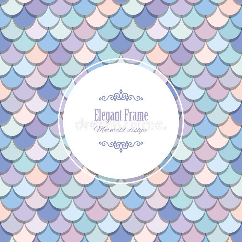 Syrenka ogonu modny karciany szablon Zawierać rybiej skóry bezszwowy wzór w pastelowych purpurach Dla kartka z pozdrowieniami, pl ilustracji