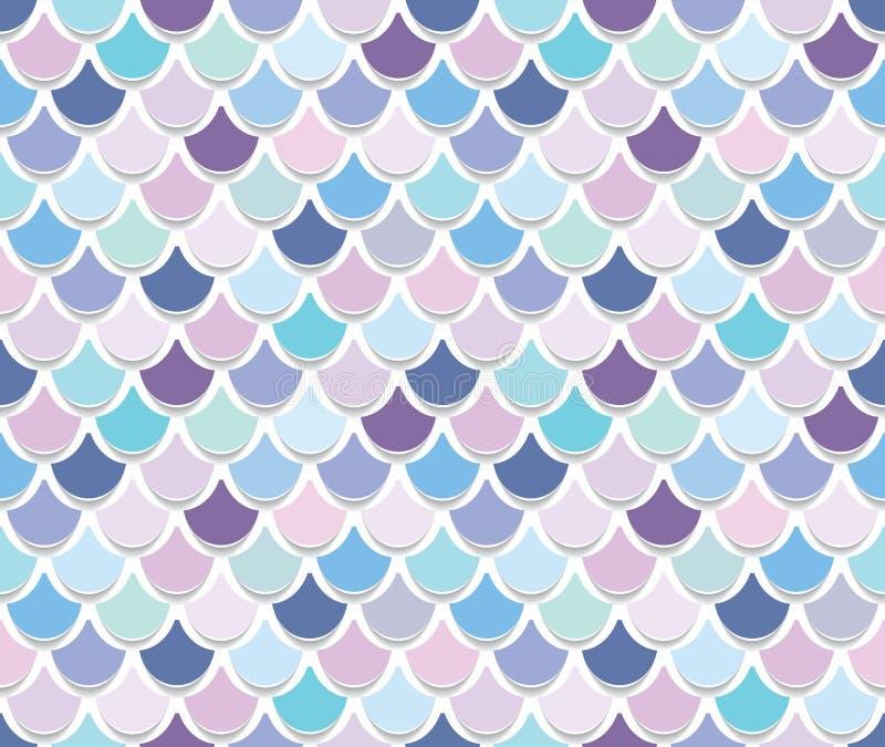 Syrenka ogonu wzór Modny szalkowy tło stubarwny ilustracji
