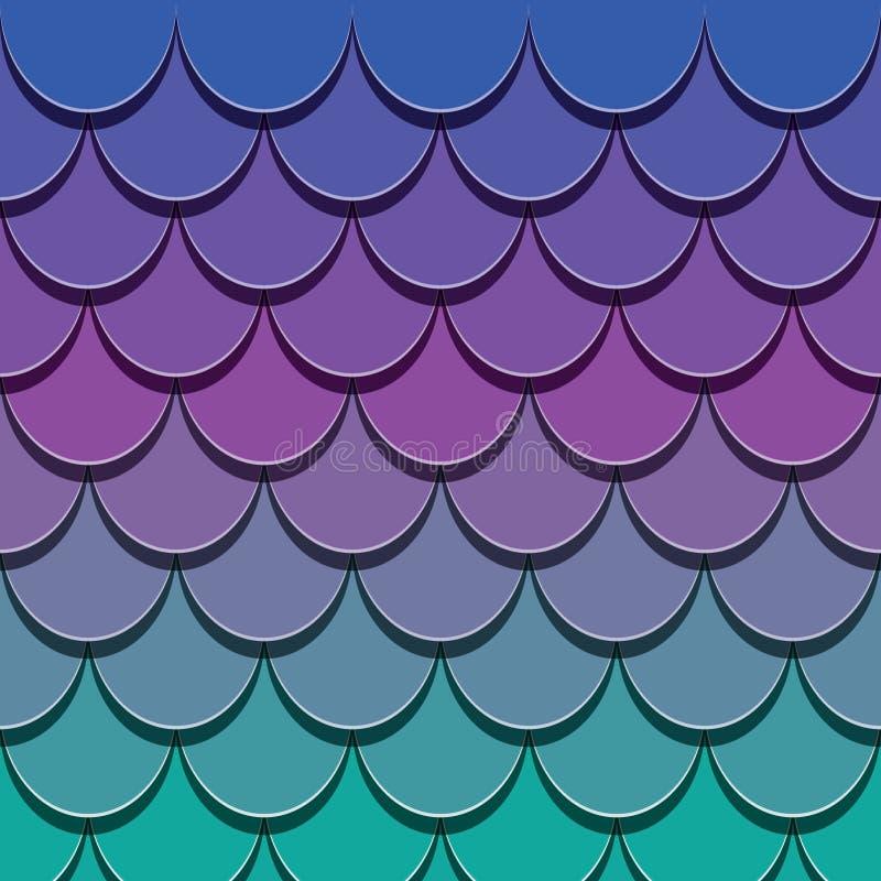 Syrenka ogonu wzór Papier ciący out 3d ryba skóry tło Jaskrawi widmo kolory ilustracji