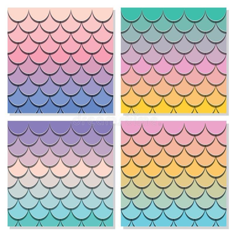 Syrenka ogonu wzoru set Papier ciący out 3d ryba skóry tło Pastelowi widmo kolory ilustracja wektor