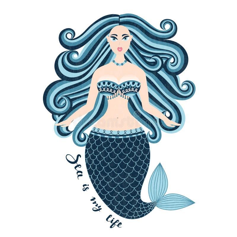syrenka Ręka rysująca denna dziewczyna Piękna kobieta z ogonem Morski lato projekt Nixie z dzikim włosy Lato ilustracja wektor