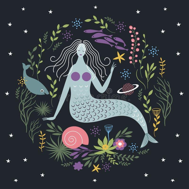 Syrenka wśród alg i ryba royalty ilustracja