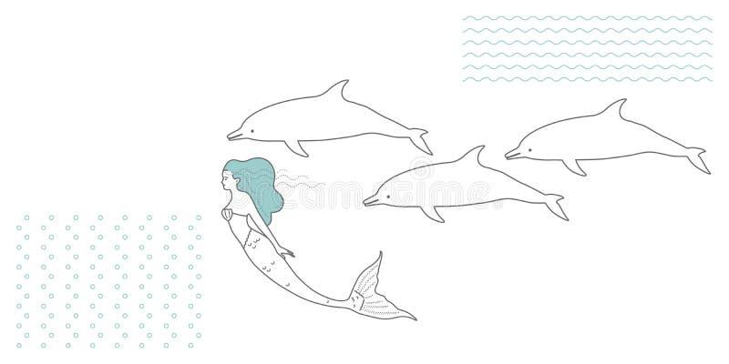 Syrenka w nowożytnym minimalisty stylu ilustracji