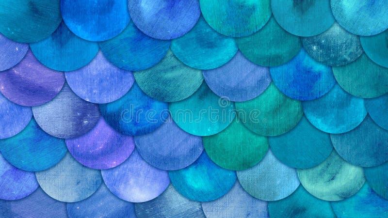 Syrenka Waży akwareli squame Rybiego tło Jaskrawego lata morza błękitny wzór z gadzim waży abstrakt ilustracji