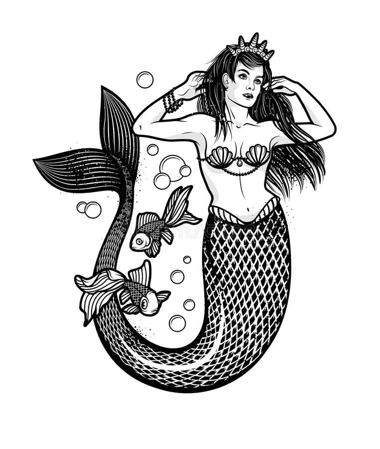 Syrenki dziewczyna z koroną Odosobniona wektorowa ilustracja ilustracja wektor