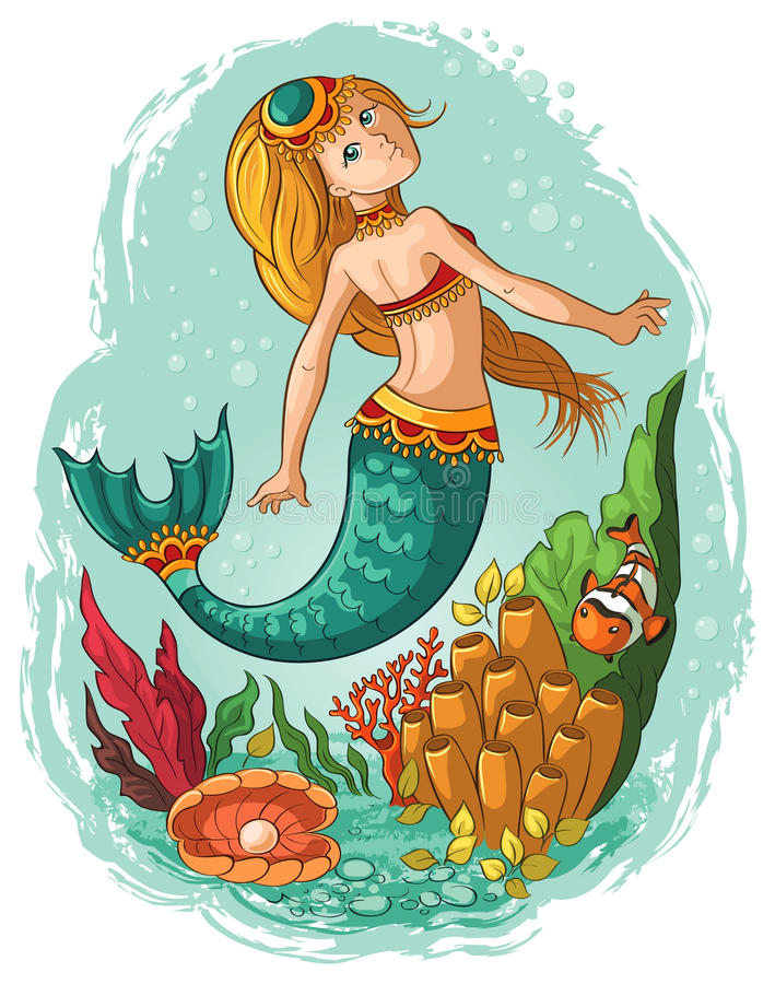 Syrenki pływać podwodny w oceanie ilustracji