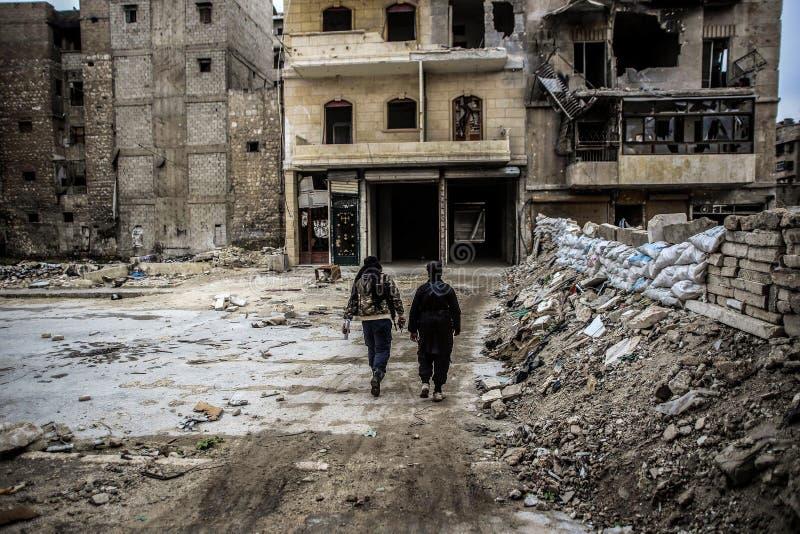 Syrië: Al-Qaeda in Aleppo stock fotografie