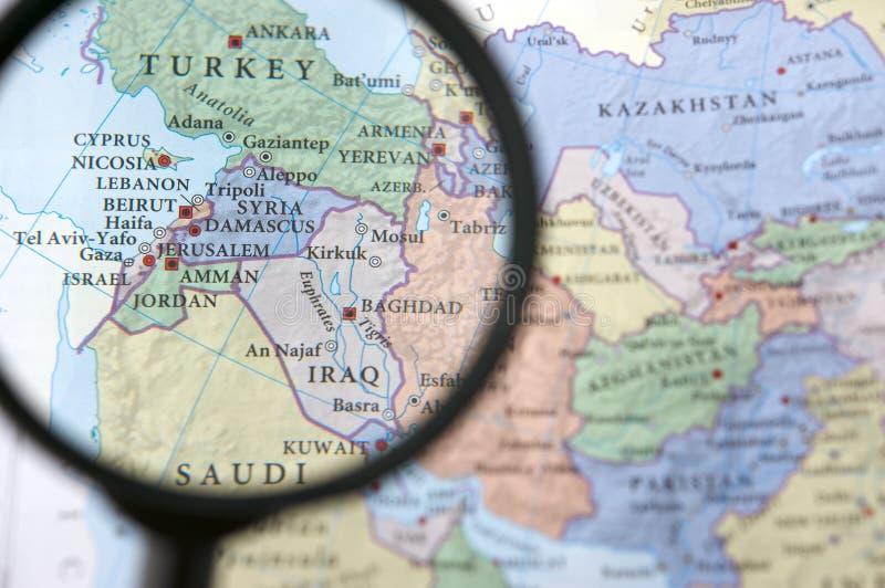 Syrië en Irak op een kaart stock afbeelding