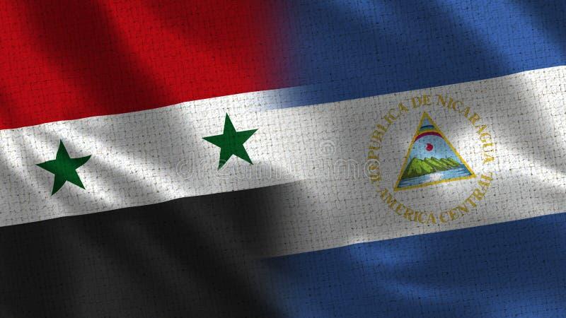 Syrië en Nicaragua - Vlag Twee samen - Stoffentextuur royalty-vrije stock fotografie