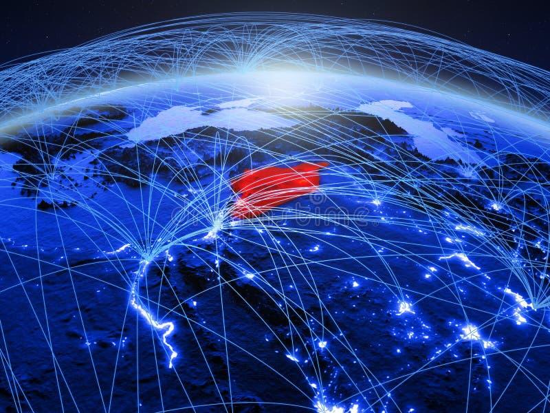 Syrië op blauwe digitale aarde met internationaal netwerk die mededeling, reis en verbindingen vertegenwoordigen 3D Illustratie stock afbeelding