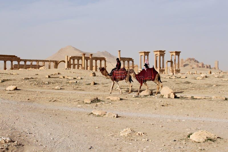 Syrië, Palmyra; 25 februari, 2011 - Ruïnes van de oude Semitische stad van Palmyra kort voor de oorlog, 2011 royalty-vrije stock foto