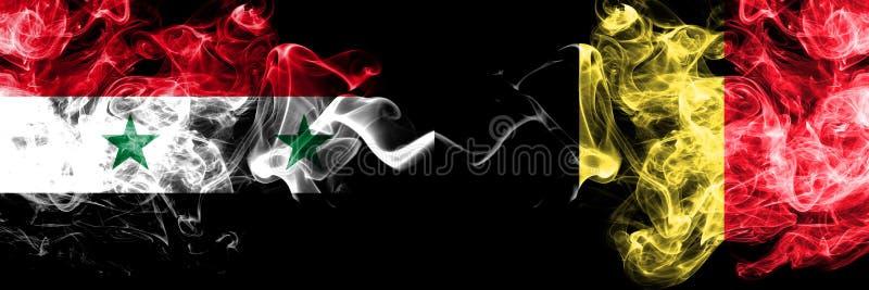 Syrië versus België, Belgische rookvlaggen naast elkaar Dikke, zijdeachtige rookvlaggen van Syrië en België, Belgisch vector illustratie